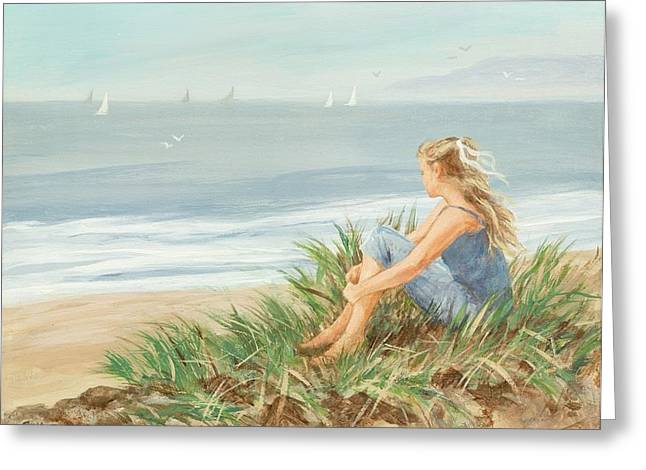 Beach Landscape Drawings Greeting Cards - Young Christina Greeting Card by Tina Obrien