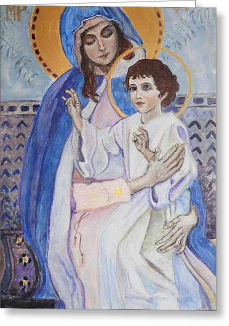 Byzantine Greeting Cards - Young Christs Blessing Greeting Card by Olga Dytyniak