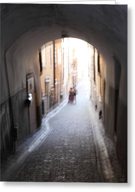 Narrow Skirt Greeting Cards - Young couple in a narrow alley Greeting Card by Intensivelight