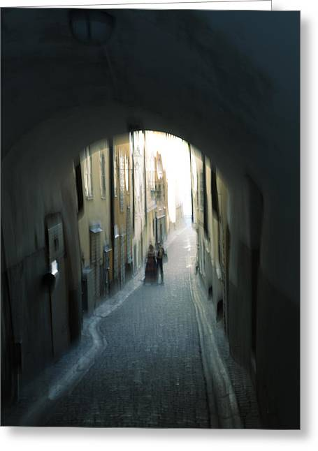 Narrow Skirt Greeting Cards - Young couple in an alley Greeting Card by Intensivelight