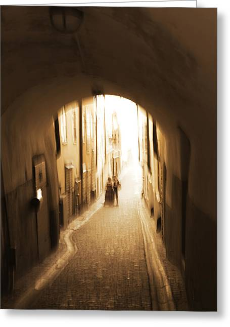 Narrow Skirt Greeting Cards - Young couple in an alley - monochrome Greeting Card by Intensivelight