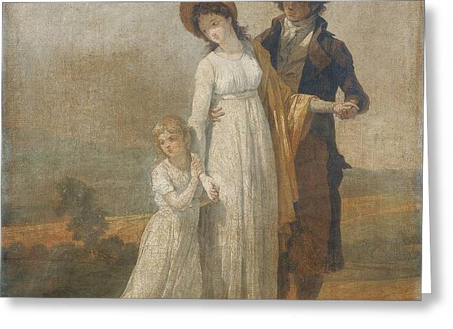 Lessons Greeting Cards - Young Couple With A Little Girl Greeting Card by Francois-andre Vincent
