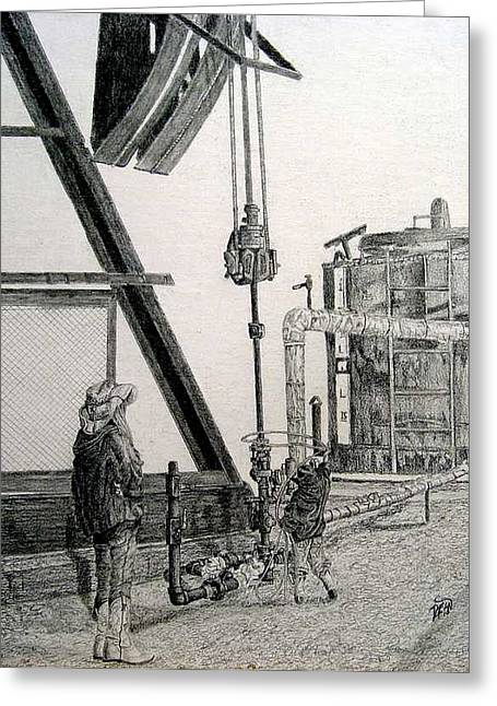 Lanscape Drawings Greeting Cards - Young Cowboy Greeting Card by Dean Herbert