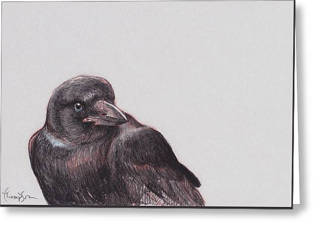 Crow Mixed Media Greeting Cards - Young Crow 2 Greeting Card by Tracie Thompson