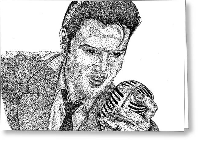 Old Tv Drawings Greeting Cards - Young Elvis Greeting Card by Jennifer Campbell Brewer