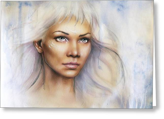 Warrior Goddess Greeting Cards - Young Enchanting Woman Warrior With Beautiful Airbrush Portrait Of A Young Enchanting Woman Warrior  Greeting Card by Jozef Klopacka