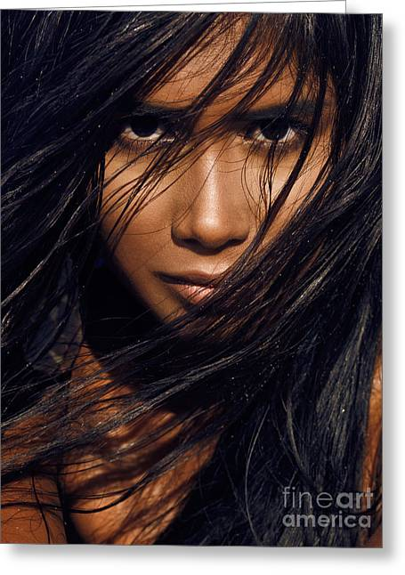 Mix Races Greeting Cards - Young exotic woman with long black hair Greeting Card by Oleksiy Maksymenko