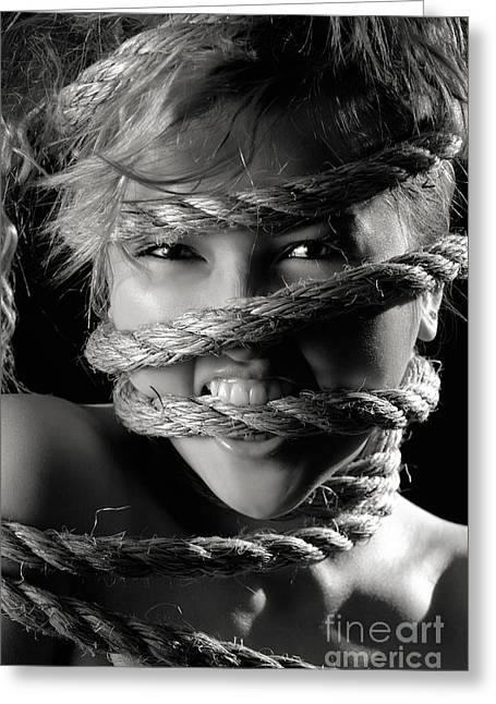 Black Tie Greeting Cards - Young Expressive Woman Tied in Ropes Greeting Card by Oleksiy Maksymenko