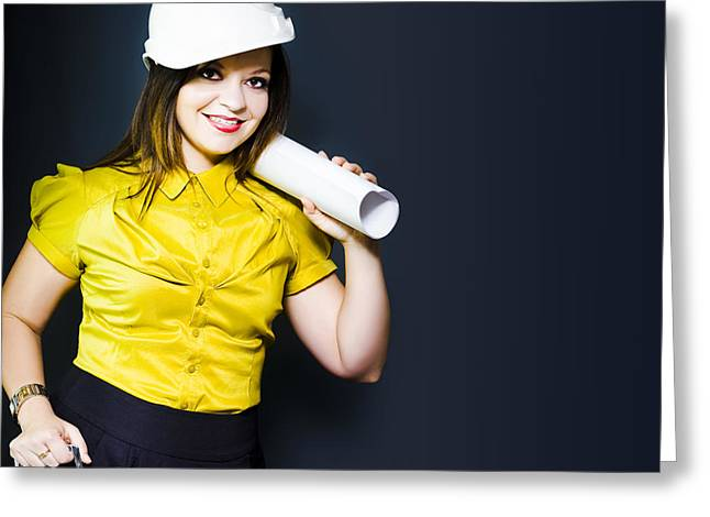 Young Female Architect On A Site Inspection Greeting Card by Jorgo Photography - Wall Art Gallery