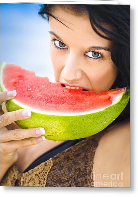 Melon Greeting Cards - Young Female Biting Into Juicy Pink Watermelon Greeting Card by Ryan Jorgensen