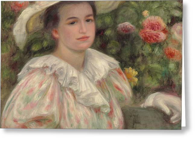Park Benches Paintings Greeting Cards - Young Girl Amongst Flowers or Woman with White Hat Greeting Card by Pierre Auguste Renoir