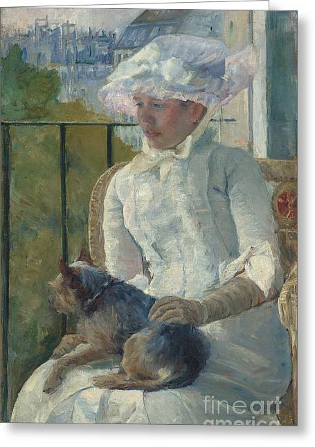 Young Girl At A Window Greeting Card by Mary Stevenson Cassatt