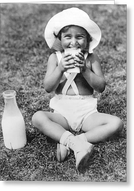 Young Girl Drinking Milk Greeting Card by Underwood Archives