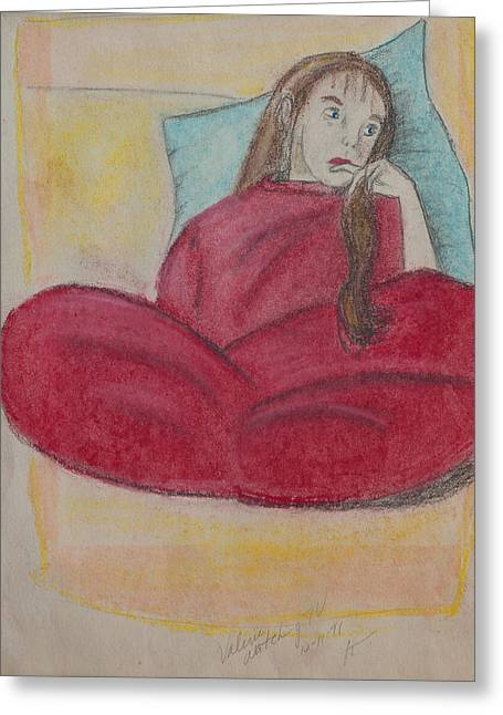 Young Girl In Deep Thought Greeting Card by Sierra Logan