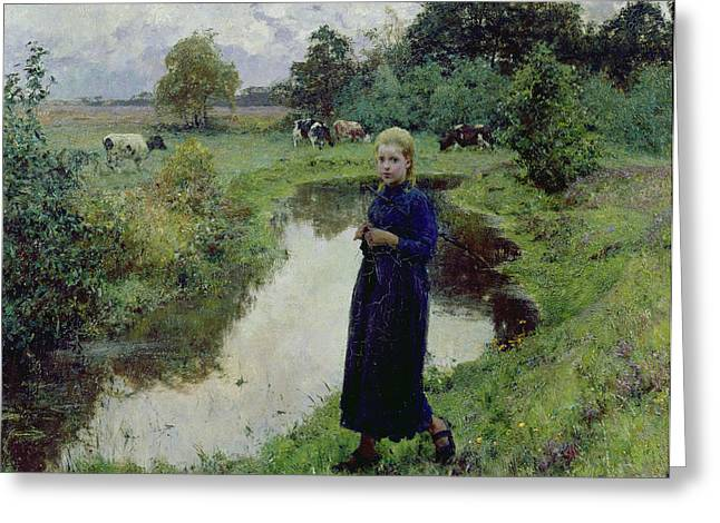 Girl In Dress Greeting Cards - Young Girl in the Fields Greeting Card by Evariste Carpentier