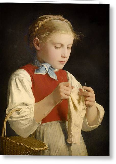 Braided Hair Greeting Cards - Young Girl Knitting Greeting Card by Albert Anker