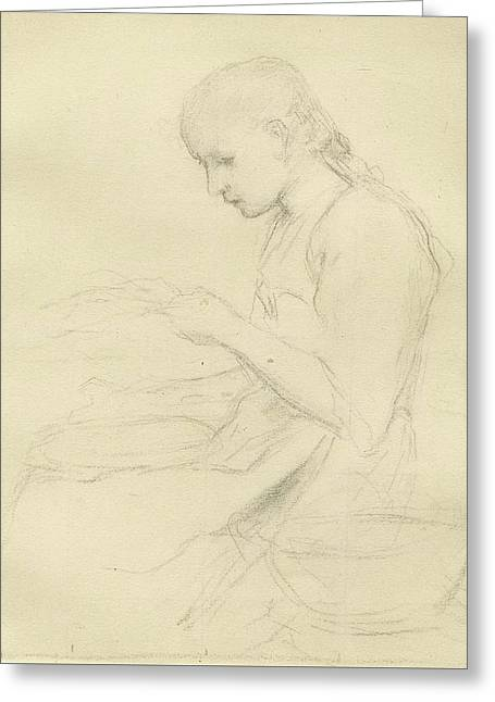 Young Girl Reading Greeting Card by Anker Albert