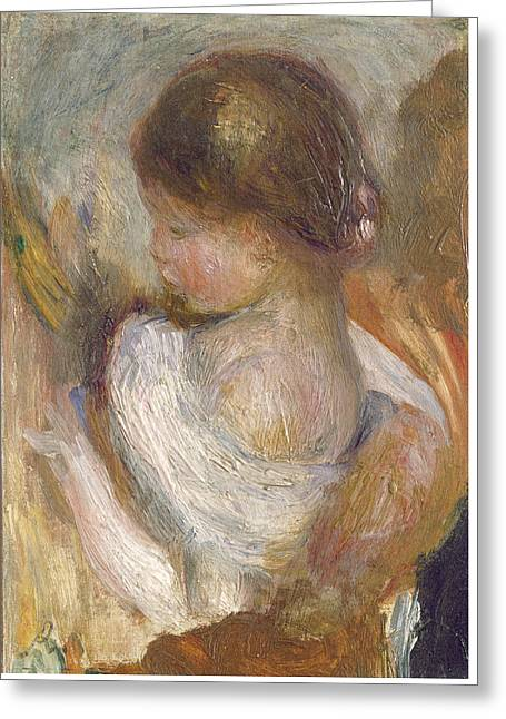 Young Girl Reading Greeting Card by Auguste Renoir