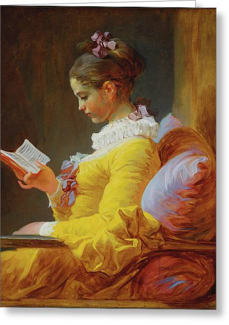 Young Girl Reading Greeting Card by Jean Honore