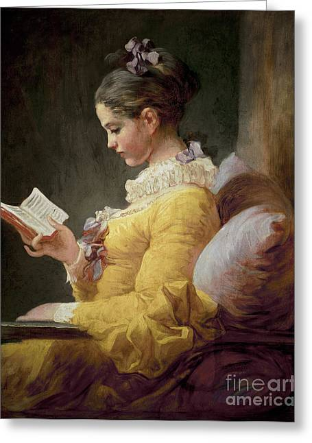 Fashions Greeting Cards - Young Girl Reading Greeting Card by JeanHonore Fragonard