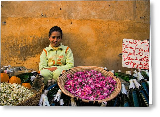 Locations Greeting Cards - Young girl selling rose petals in the Medina of Fes Morroco Greeting Card by David Smith