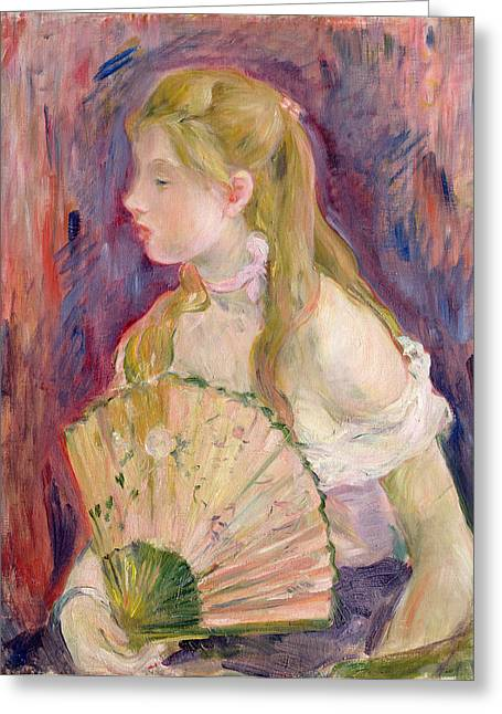 Berthe (1841-95) Greeting Cards - Young Girl with a Fan Greeting Card by Berthe Morisot