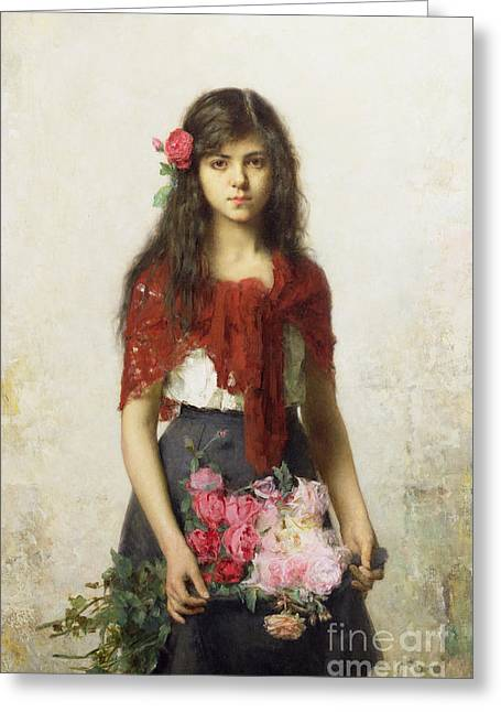 Pink Roses Greeting Cards - Young girl with blossoms Greeting Card by Alexei Alexevich Harlamoff