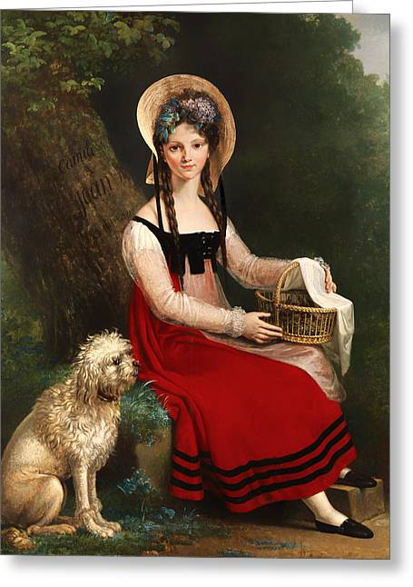 Braided Hair Greeting Cards - Young Girl With Poodle On A Grassy Bank Greeting Card by Anonymous