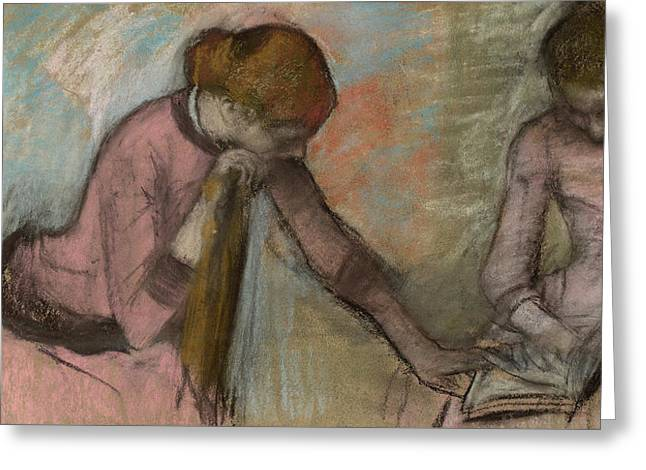 Young Girls Looking At An Album Greeting Card by Edgar Degas