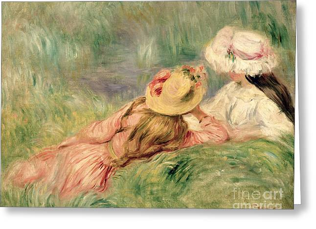 Young Greeting Cards - Young Girls on the River Bank Greeting Card by Pierre Auguste Renoir