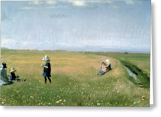 Pretty Scenes Greeting Cards - Young Girls picking Flowers in a Meadow Greeting Card by Michael Peter Ancher