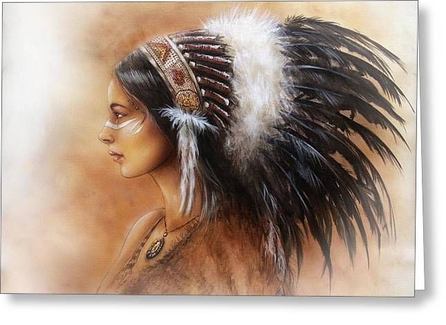 Native American Spirit Portrait Greeting Cards - Young Indian Woman Wearing A Big Feather Headdress A Profile Portrait On Structured Abstract Greeting Card by Jozef Klopacka