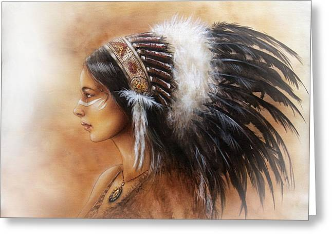 Gold Necklace Greeting Cards - Young Indian Woman Wearing A Big Feather Headdress A Profile Portrait On Structured Greeting Card by Jozef Klopacka