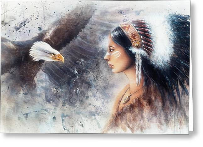 Young Indian Woman Wearing A Gorgeous Feather Headdress. With An Image  Eagle Spirits Greeting Card by Jozef Klopacka
