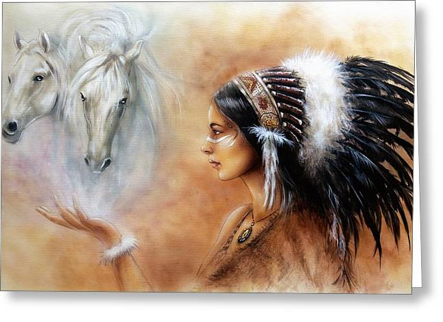 Native American Spirit Portrait Paintings Greeting Cards - Young Indian Woman Wearing A Gorgeous Feather Headdress With An Image Of Two White Horse Greeting Card by Jozef Klopacka