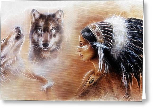 Warrior Goddess Greeting Cards - Young Indian Woman Wearing A Gorgeous Feather Headdress With Wolves Greeting Card by Jozef Klopacka