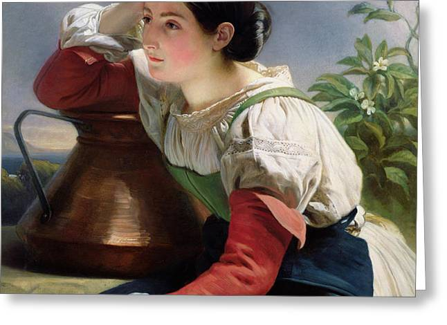 Young Italian at the Well Greeting Card by Franz Xaver Winterhalter