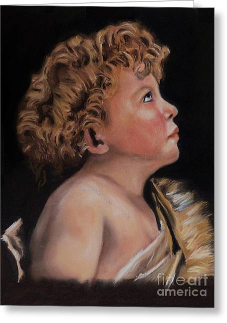 Bible Pastels Greeting Cards - Young John the Baptist  Greeting Card by Peter Flint