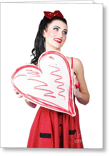 Lovesick Greeting Cards - Young lady holding retro red heart card Greeting Card by Ryan Jorgensen