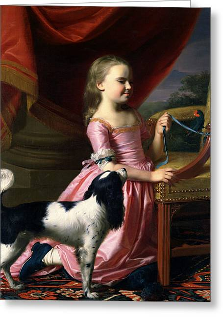 Young Lady With A Bird And A Dog Greeting Card by John Singleton Copley