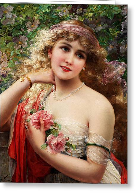 Women With Roses Greeting Cards - Young Lady With Roses Greeting Card by Emile Vernon
