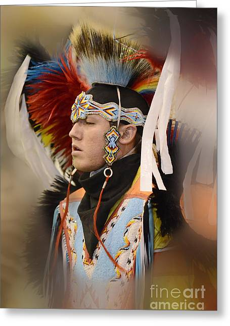 Fancy-dancer Greeting Cards - Pow Wow Young Man Greeting Card by Bob Christopher