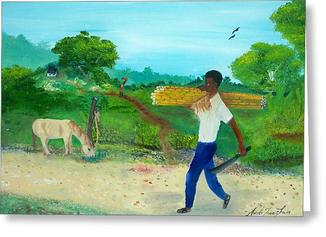 Nicole Jean-louis Greeting Cards - Young Man Carrying Sugarcane Greeting Card by Nicole Jean-Louis
