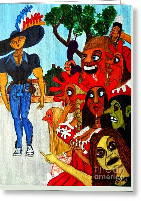 Hansome Man Greeting Cards - Young Man in Tight-Fitting Blue Jeans Greeting Card by Don Pedro De Gracia