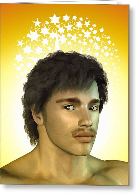Mustaches Drawings Greeting Cards - Young man Greeting Card by Joaquin Abella