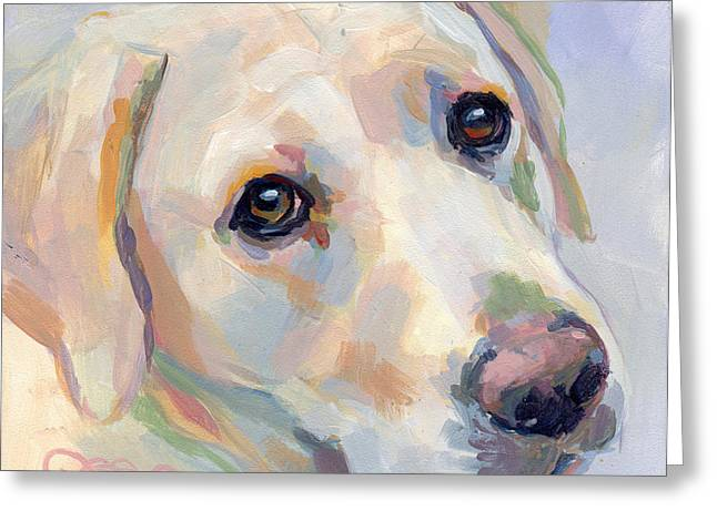 Yellow Dog Paintings Greeting Cards - Young Man Greeting Card by Kimberly Santini