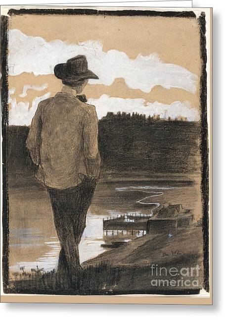 Young Man On A Riverbank Greeting Card by Celestial Images