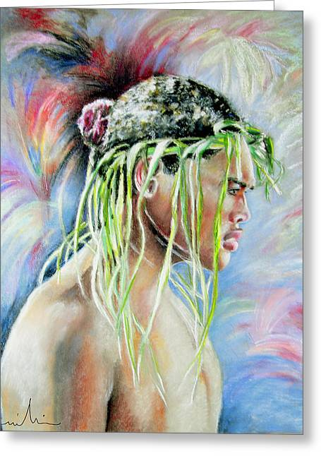 Maoris Greeting Cards - Young Maori Warrior Greeting Card by Miki De Goodaboom