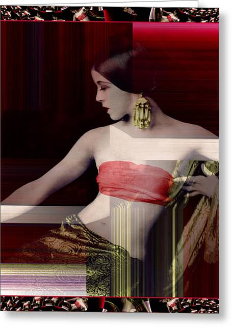 Young Martha Graham Colorized Greeting Card by Robert G Kernodle