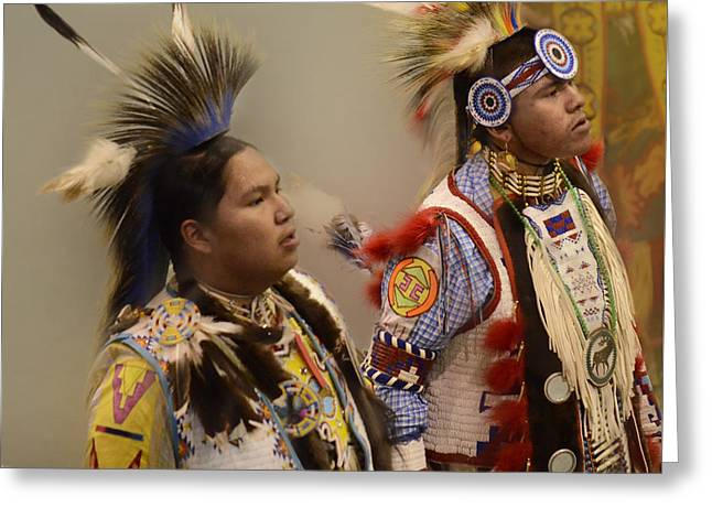 Pow Wow Young Men Greeting Card by Bob Christopher